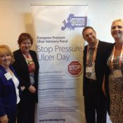 NPUAP President Margaret Goldberg, Pamela Mitchell (NZWCS), EPUAP President Amit Gefen, and EPUAP President Elect Lisette Schoonhoven, at the launch of the International Pressure Ulcer Guidelines in Sweden.