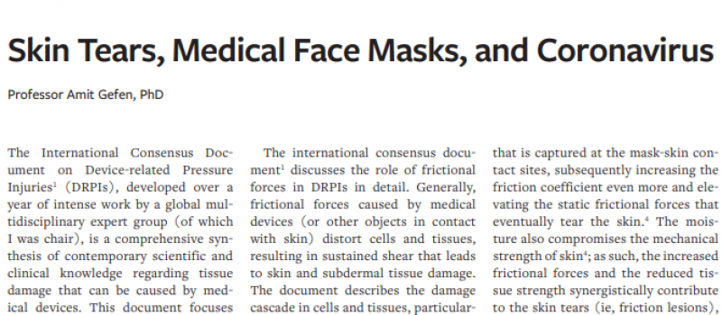 Skin Tears, Medical Face Masks, and Coronavirus